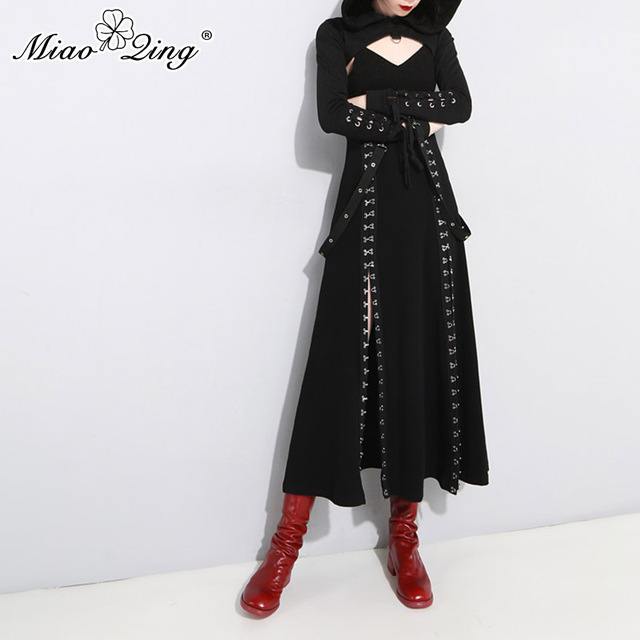MIAOQING 2019 Spring Punk Black Hooded Sweatshirt Gothic Bandage Hoodies Women Sexy Hollow Crop Tops and Dress Streetwear Sets