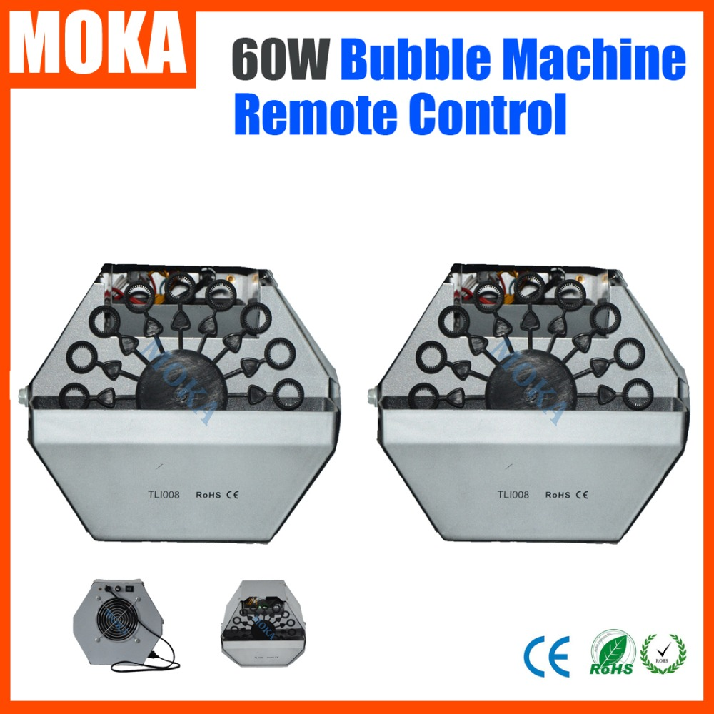 цена на 2PCS/lot 60W Small Bubble Machine Electronic Remote Control Stage Effect Wedding Soap Bubble Blower Machine