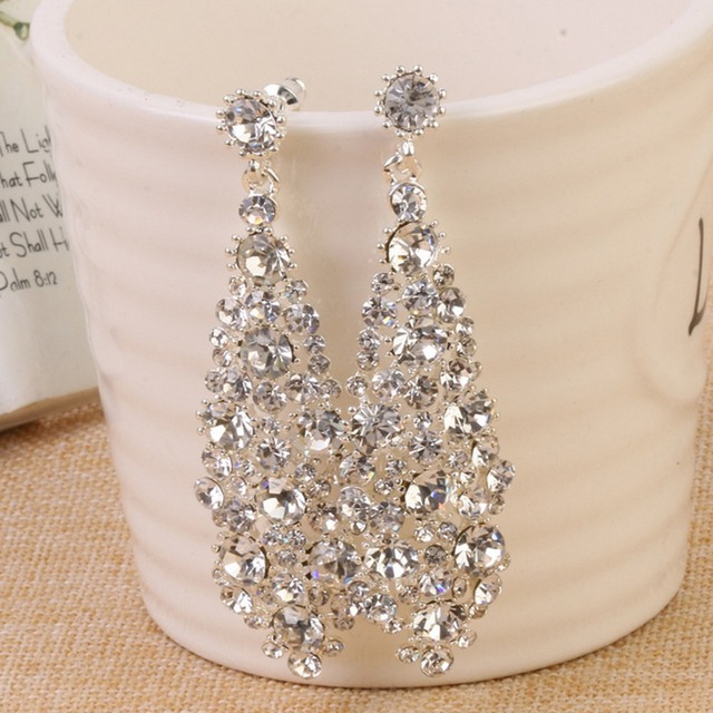 Silver Shining Clear Teardrop Wedding Earrings For Brides Women Gold Long Drop Brinco 2017 Bridesmaid Jewelry Party Accessories