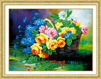 5d Diy Diamond Painting Rose Basket Cross Stitch Round Rhinestone Diamond Mosaic Picture Home Decoration Christmas