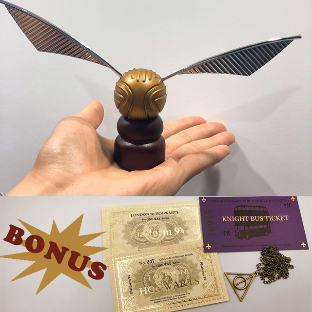 Harry Movie Gold  Ball Snitch Game Ball with Hogwart London Express Replica Ticket Knight Bus Ticket Hallows Necklace