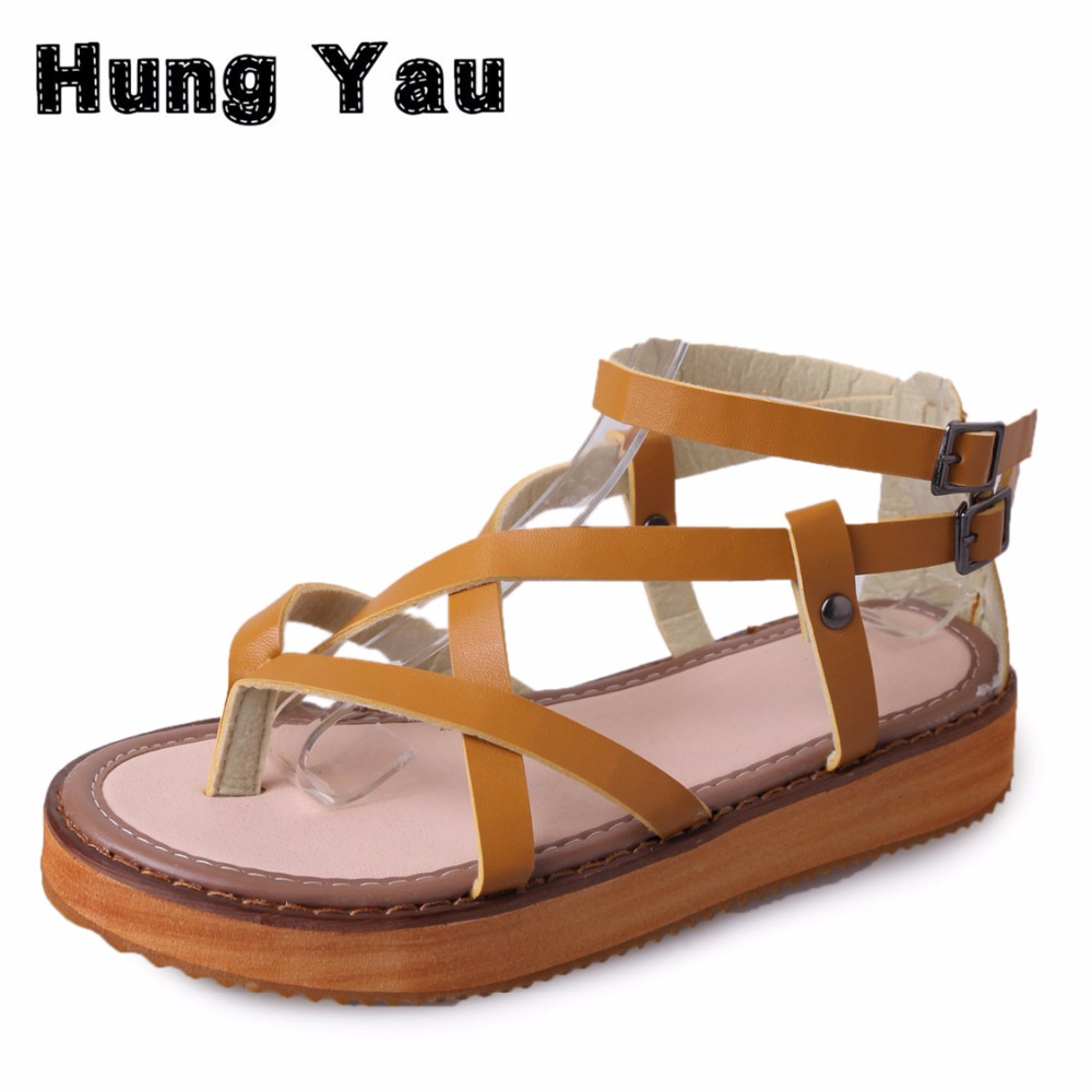 Summer Styel Gladiator Sandals Comfort Flats Casual Creepers Platform Cross Straps Canvas Shoes Woman 3 Colors  Plus Size US 9 phyanic 2017 gladiator sandals gold silver shoes woman summer platform wedges glitters creepers casual women shoes phy3323
