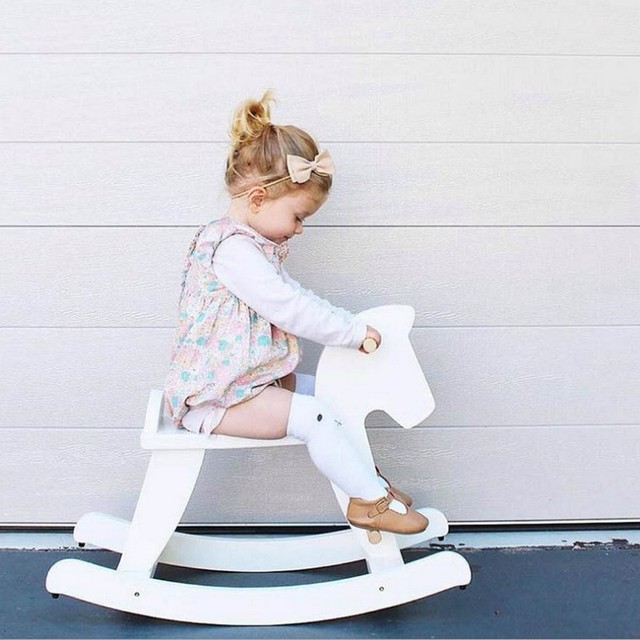 ins wooden toddler s sit in bouncing rocking horse handmade wooden