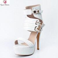 Super Fashion Women Sandals Nice Peep Toe Thin Heels Sandals Elegant White Shoes Woman Plus US