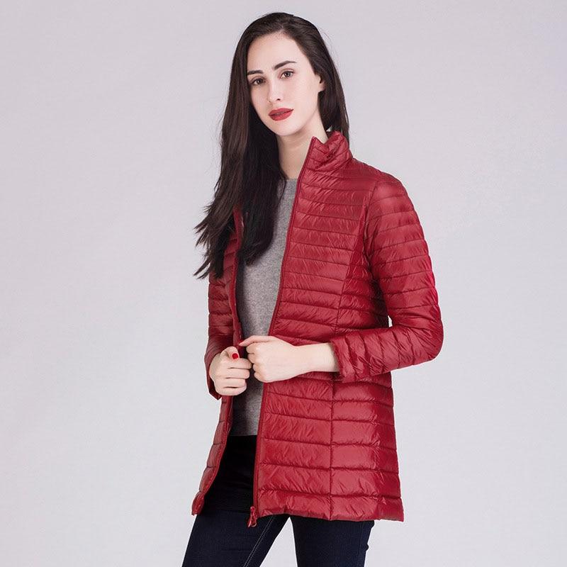 New arrival 2019 autumn winter stand collar thin down jacket women medium long slim down coat outerwear plus size