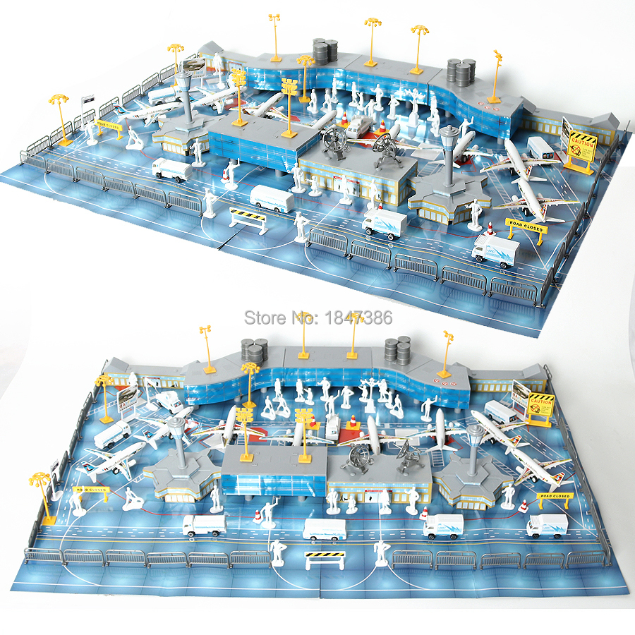 200PCS//Set Airport Playset Airplane Aircraft Models Assembled Kid Toys Gifts