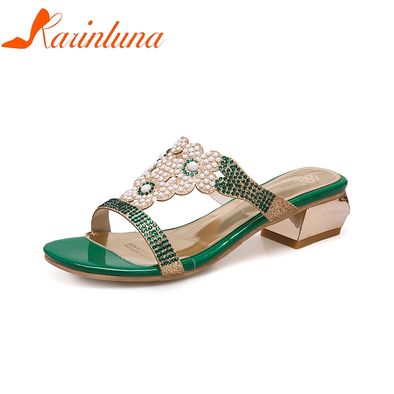 KARINLUNA 2018 New Fashion Plus 32-46 Women Sandals Shoes Chunky Heels Slip On Summer Green Woman Sandals Shoes Woman bohemia plus size 34 41 new fashion wedges sandals slip on elastic band casual platform shoes woman summer lady shoes shallow