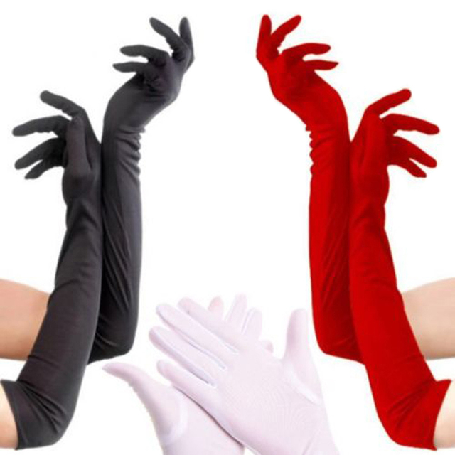 Satin Long Finger Elbow Sun protection gloves Opera Evening Party Prom Costume Fashion Gloves black red white grey women B2528b 1
