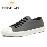 Генрих Летняя мужская обувь модные черные/серый на шнуровке парусиновая обувь дышащие качества Для мужчин повседневная обувь на плоской по