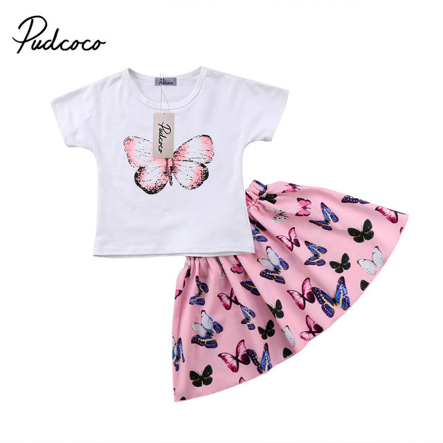 2Pcs Pretty Girls Clothing Kids Baby Girls Butterfly Short sleeve T-shirt Tops Shorts Skirts Children Girls Outfits Clothes Set