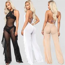 Sexy Sheer Black Mesh Jumpsuit Romper Women Open Back Backless Side Ruffle Halter Nightclub Party See