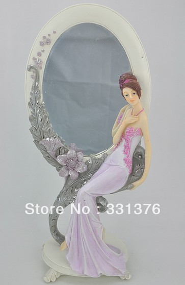 free shipping Resin Crafts Fashion home decoration  accessories desktop makeup mirror lady in ancient bride groom