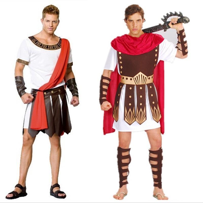 Древние римские Костюмы воинов маскарадные вечерние мужские костюмы гладиаторы рыцарь Юлий Цезарь взрослый Косплей тема пара Cotume