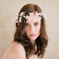 Mariage Mariée Coiffure Dentelle Fleur Floral Bandeaux Pour Femmes Perle Cristal Cheveux Accessoires Coiffe Bandeaux Bandeaux