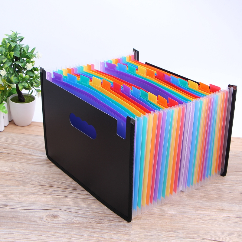 Expanding File Folder 24 Pocket Black Accordion A4 Folder School Office Supplies a4 rainbow expanding document folder 13 pocket school portable accordion bag