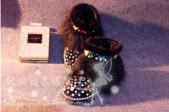Magic show originele luxe mink fur glas aquarel boor lederen laarzen strand wol snowboots - 5