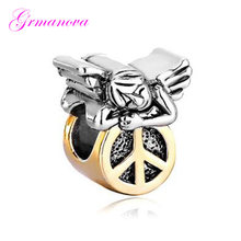 Golden anti-war logo peace angel European big hole charm beads amulet Fit Pandora Bracelet Women's DIY Jewelry(China)