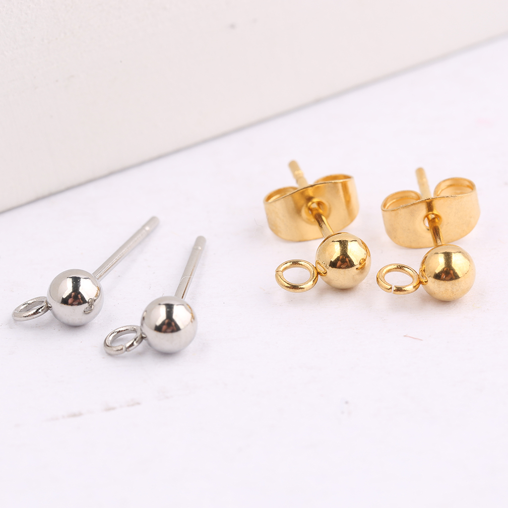 onwear 20pcs 4mm Stainless steel stud earring posts with loop diy pin connector findings for jewelry making supplies