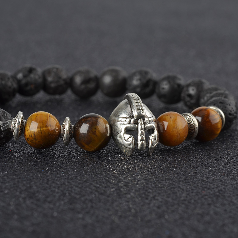 Roman Knight Spartan Warrior Gladiator Helmet Bracelet Men Black Lava Stone Bead Bracelets For Men Jewelry
