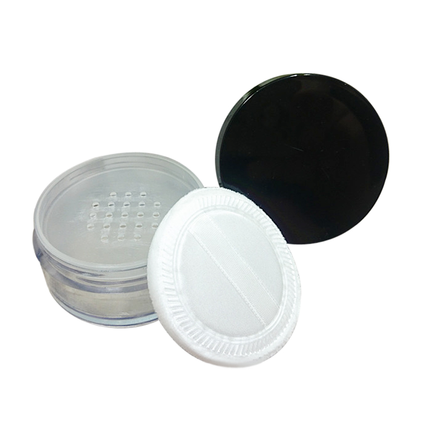 15G empty plastic round loose powder case with sifter and puff sponge eyeshadow container power container
