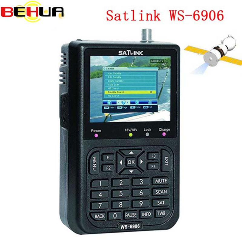 Satlink WS-6906 3.5 DVB-S FTA digital satellite satFinder meter satellite finder LCD Sat Finder ws 6906 satlink ws6906 PK V8 1pc original satlink ws 6933 ws6933 dvb s2 fta c ku band digital satellite finder meter free shipping