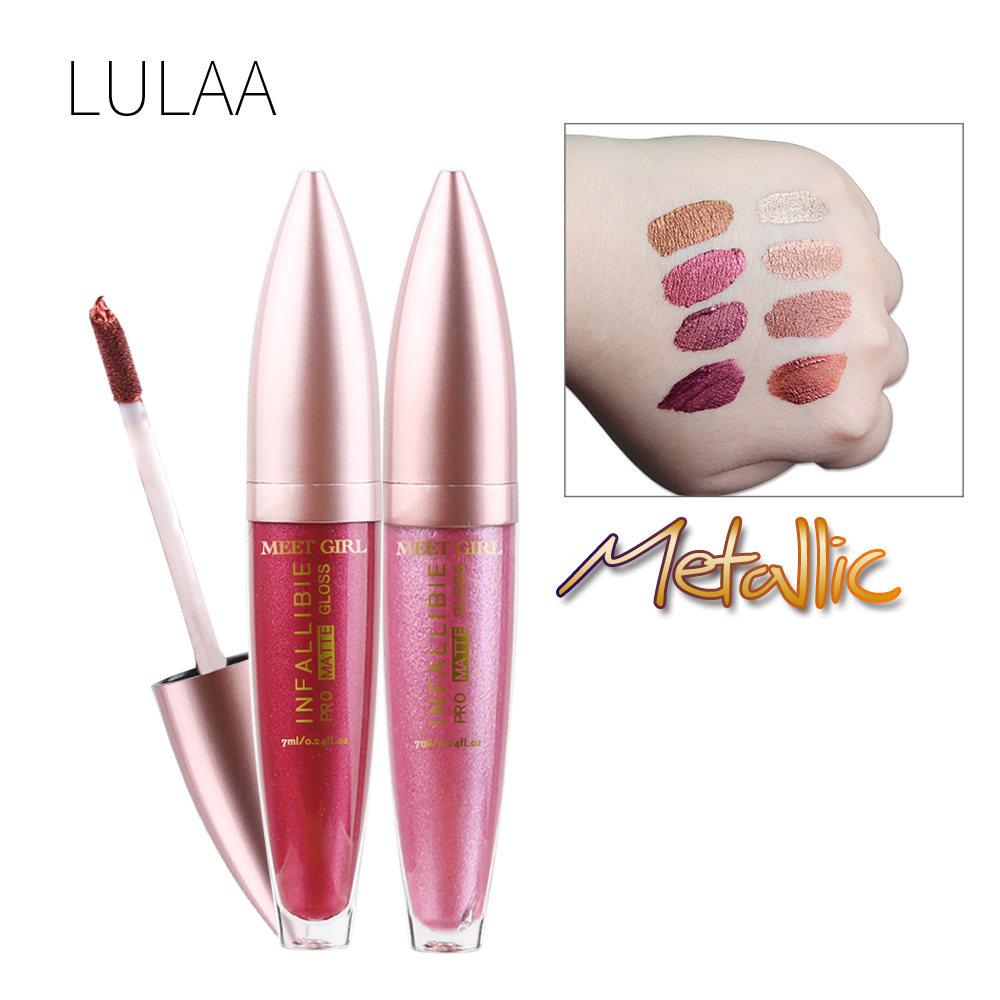 LULAA Metallic Lip Gloss Glitter Lips Glaze Chameleon Bright Flash Pearlescent Liquid Lipstick