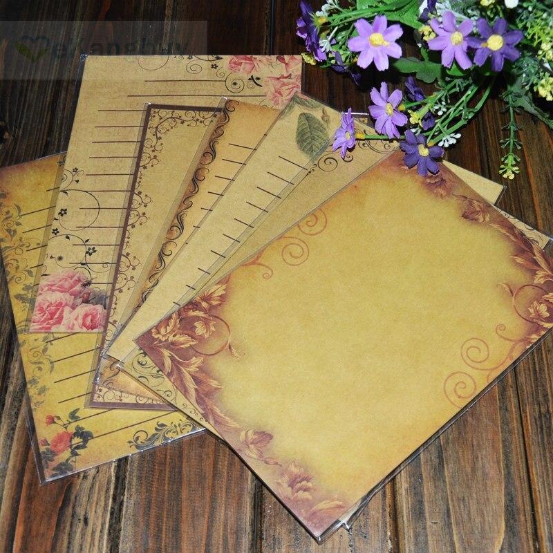 Vintage Floral European Style Love Letter Paper Romantic Writing Kraft Paper 21x14.5cm Mix 8 Patterns 64sheets