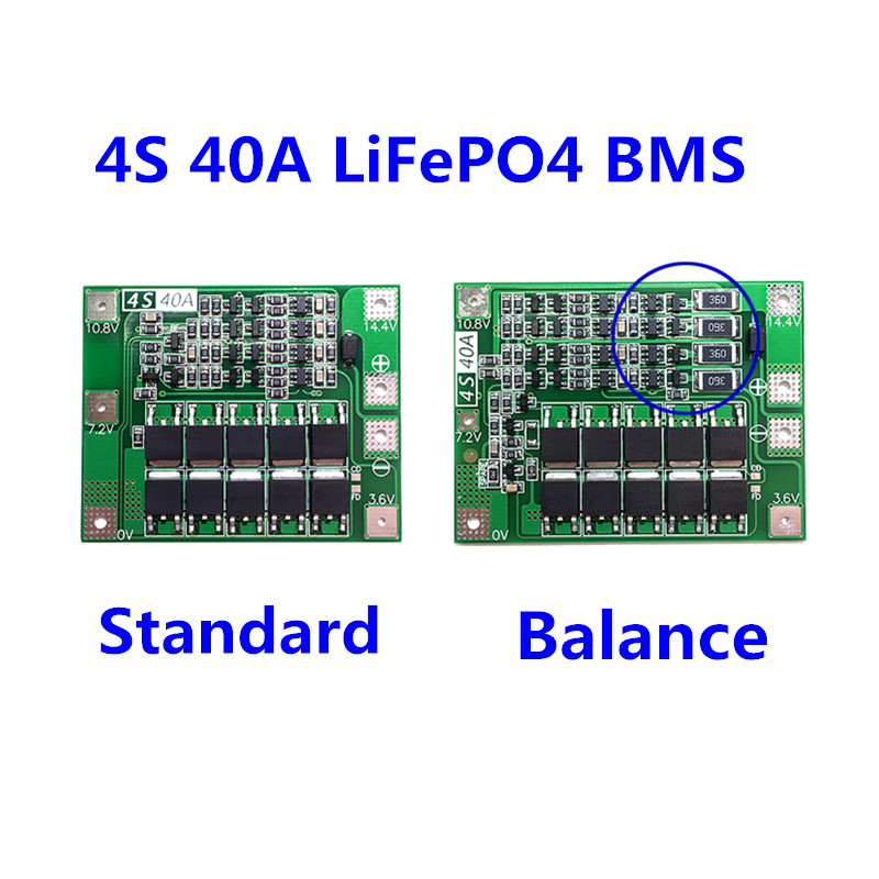 4S 40A 12.8V 14.4V 18650 LiFePO4 BMS/ lithium iron battery protection board with equalization start drill Standard/Balance
