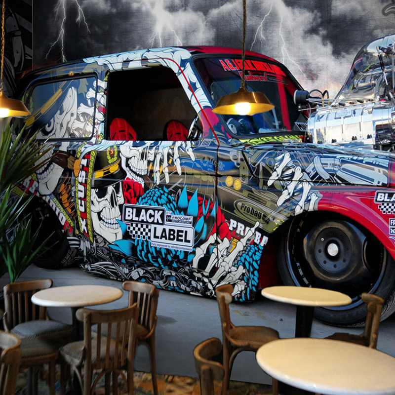Custom stereoscopic car painting graffiti 3d wallpaper ktv for Cafe mural wallpaper