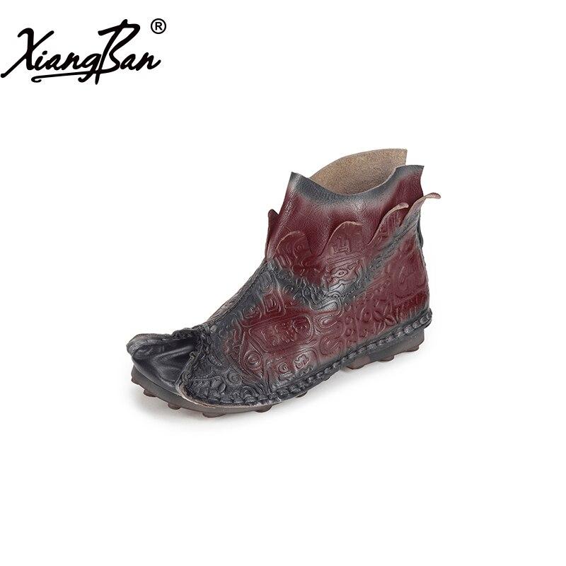Xiangban/2018 весенние женские ботинки на плоской подошве; Повседневная Осенняя обувь; кожаные ботильоны для женщин ручной работы