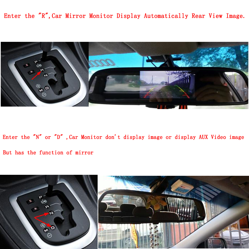 Podofo 4.3 TFT LCD Car Parking Rearview Mirror Monitor 2 Video Input For Rear View Camera 8 LED Night Vision Reverse Camera