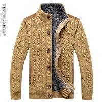 TIMESUNION Men's Sweaters Winter Warm Thick Velvet Sweatercoat Single breasted Casual Cardigan Men Sweaters Pattern Knitwear 3XL