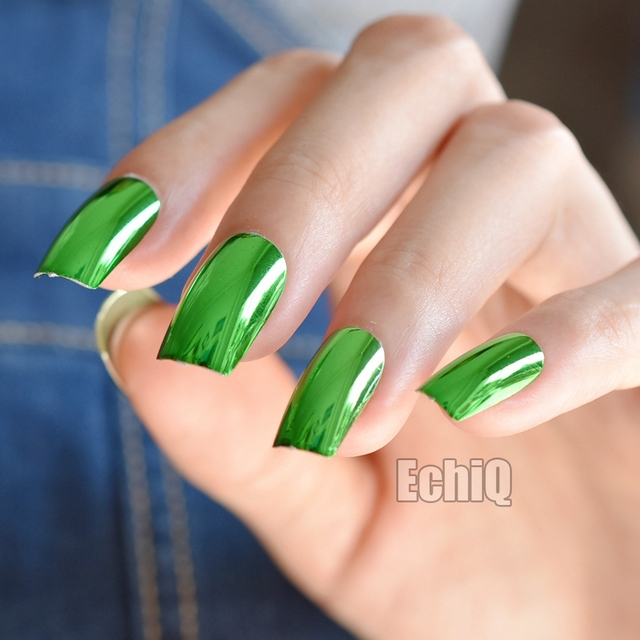 24pcs Green Mirror Acrylic Nails Metallic Long Size Faux Ongles Flat Top Salon Fake Nail Art