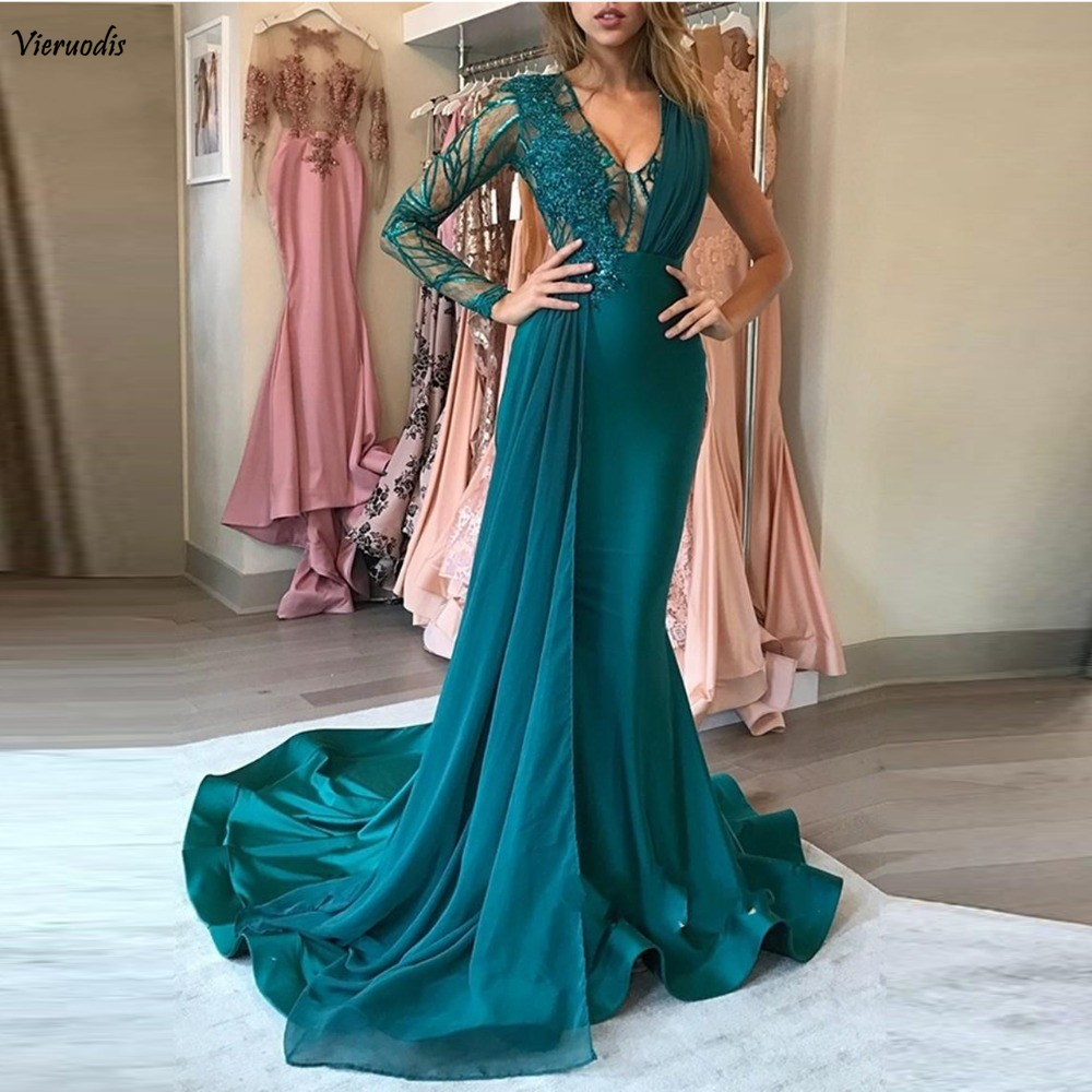 139-1         Teal Muslim Long Evening Dresses 2019 V-Neck Lace Chiffon One Shoulder Long Sleeves Mermaid Prom Dress Evening Party Gown