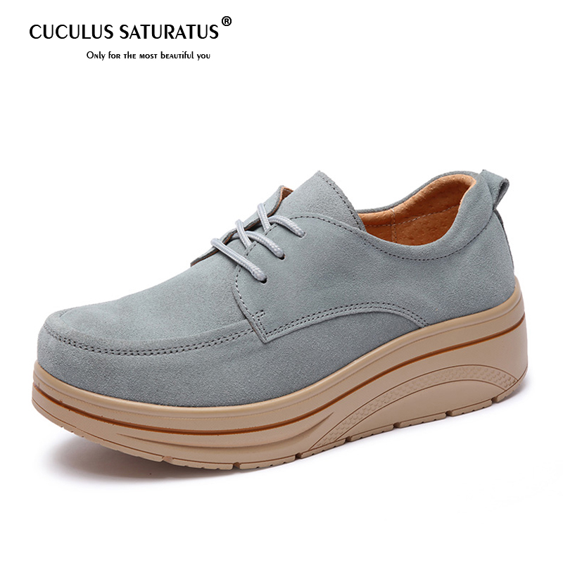Cuculus Plus Size Autumn Women Flat Platform shoes   suede     leather   lace up casual shoes ladies walking shoes flats women Creepers