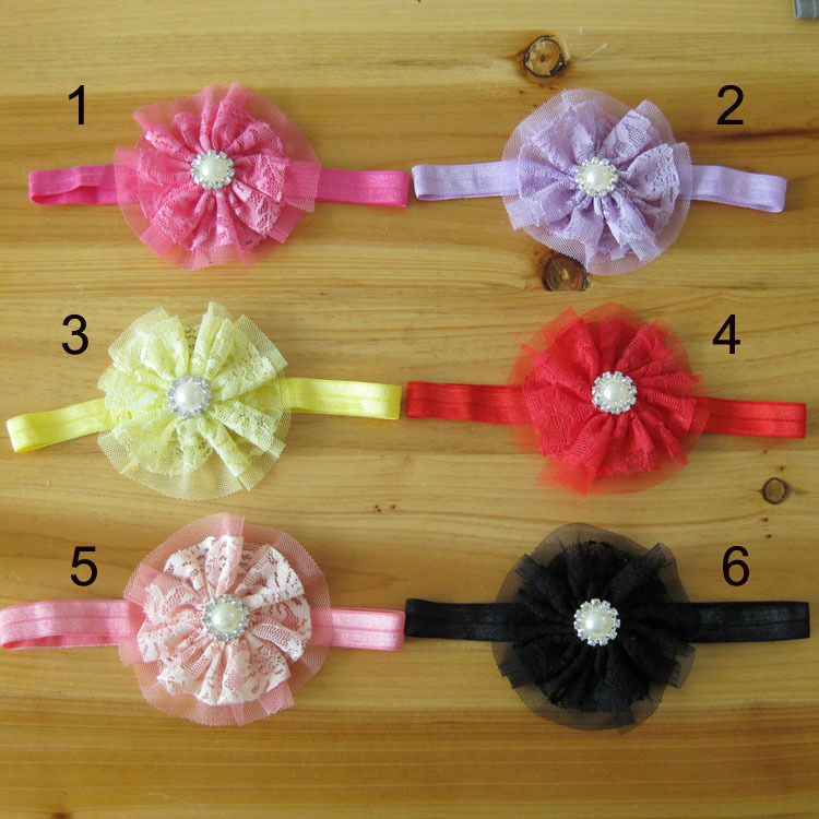 60 PCS/LOT Lace Flower Headband, lace flower with Pearl and Rhinestone headbands