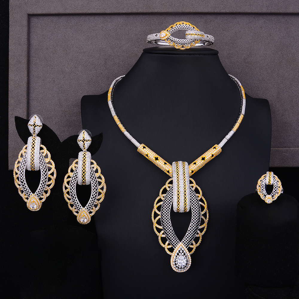 SisCathy 4PCS Nigerian Jewelry Sets For Women Wedding Zircon Indian African Bridal Brecelet/Earrings/Necklace/Ring Jewelry Sets