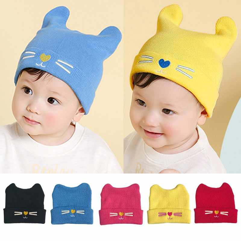 Baby Hats Cartoon Cat Knitted Cap With Ears Winter Warm Newborn Caps Beanies Wool Girls Boys Hats