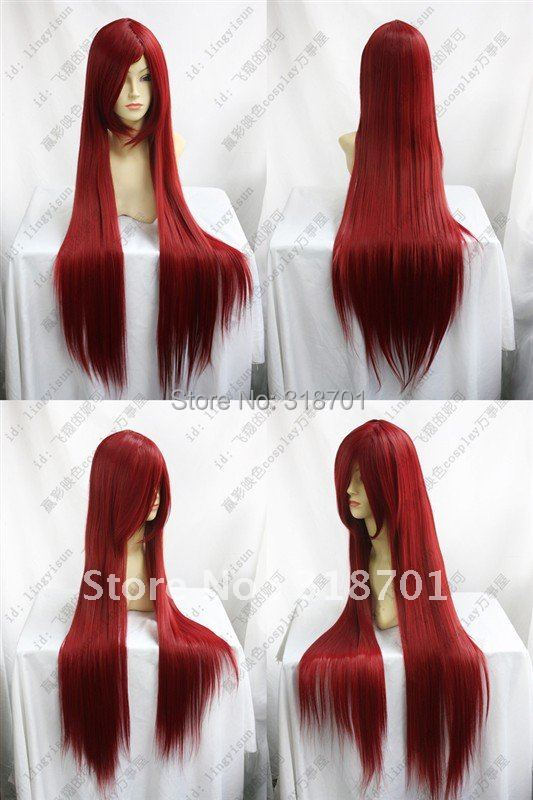 (Free Shipping)Hot Sell New Beautiful Long Red long straight hair Cosplay Party Ladys Hair Full Wig