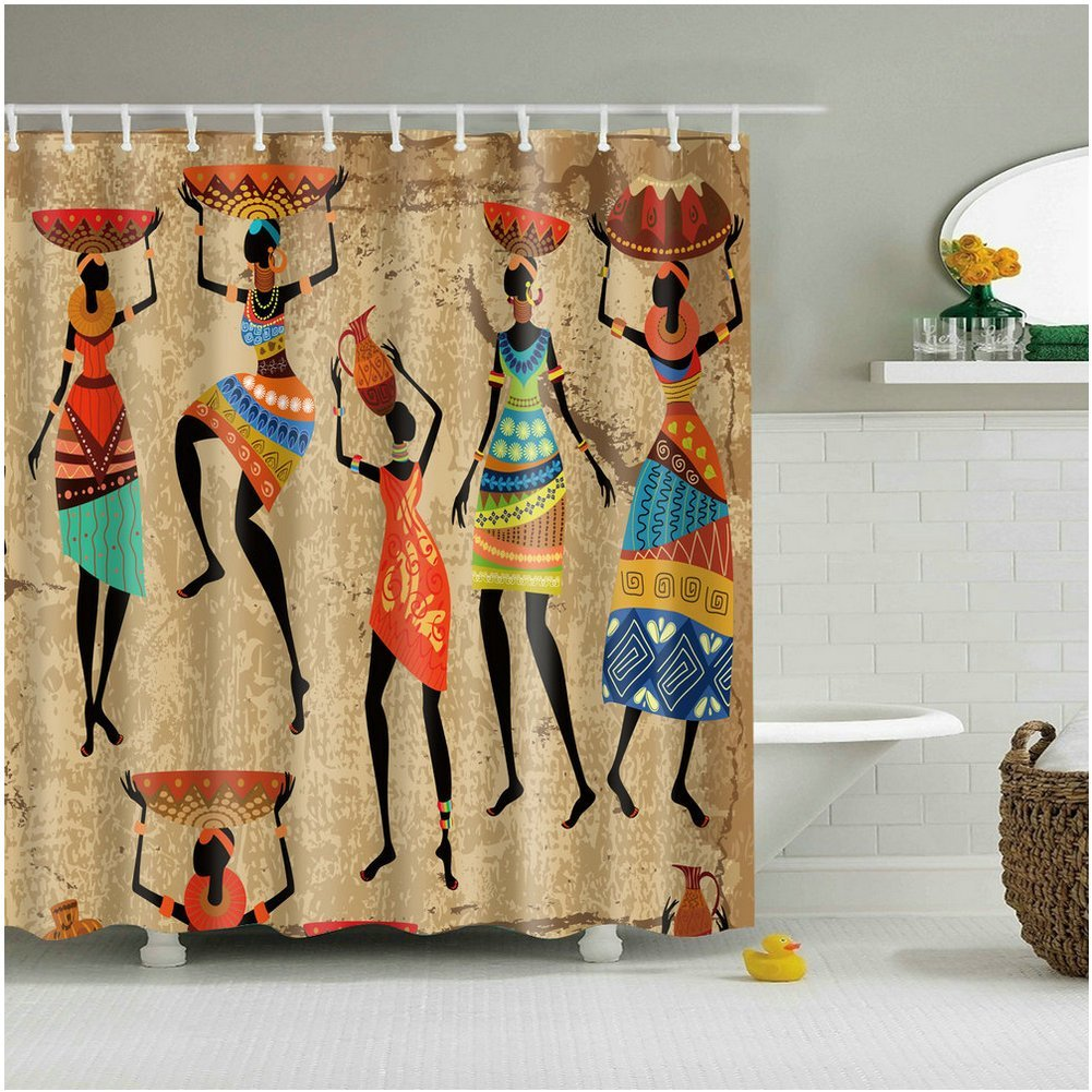 CHARMHOME Abstract Art African Woman on Grunge Bathroom Shower ...