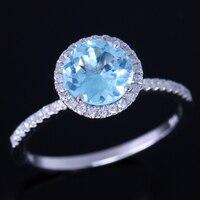 925 стерлингового серебра 6.5 мм круглой огранки 1.44ct голубой топаз проложить природный бриллиантами обручальное ювелирные кольца оптовая про