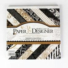"NEU! 8""classic schwarz thema elegante scrapbooking papier set 40 blatt 18 muster hintergrund papier pad 4 muster sterben-cut papier"