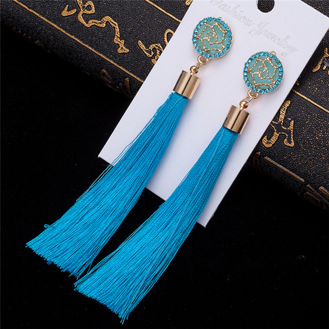 HTB1O4uqV4TpK1RjSZR0q6zEwXXax - HOCOLE Bohemian Crystal Tassel Earrings Black White Blue Red Pink Silk Fabric Long Drop Dangle Tassel Earrings For Women Jewelry
