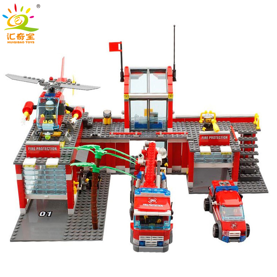 774pcs Fire Station Helicopter Cars Trucks Building Blocks Compatible Legoed City Firefighter Figures Educational Children Toys fire fighting truck cars building blocks small particles compatible legoed city firefighter figures enlighten toys for children