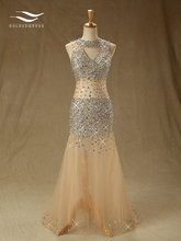 Solovedress Tulle Sleeveless Beads and Crystals Prom Dress Evening Party Dress Mermaid Formal Gown vestido de festa longo SL-P37