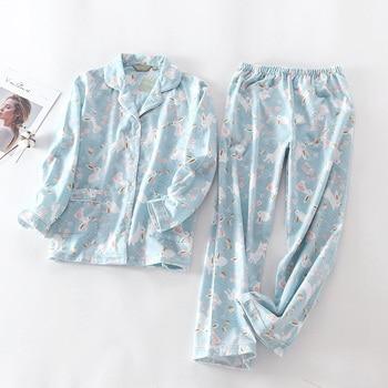 Conjunto de pijama bonito de algodón con 100% de conejo para mujer, Conjunto de pijama de Otoño de manga larga de talla grande, Conjunto de pijama para mujer de invierno