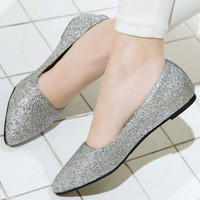 2018 Spring New Flat Bottom Sequins Fashionable Fabric Pure Color Pointed Toe Shoes Footwear Bling Party Shoes Size 33 43