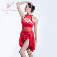 Red Satin bodice ballet dress Girl & women stage performance ballet costume Lyrical Dance Dress