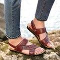 DreamShining Verano Playa Sandalias Zapatos De Los Hombres Zapatos de Verano de cuero de Vaca Ocasional Zapatos de Cuero Respirables de Los Hombres Zapatillas de Playa de Hombres Zuecos