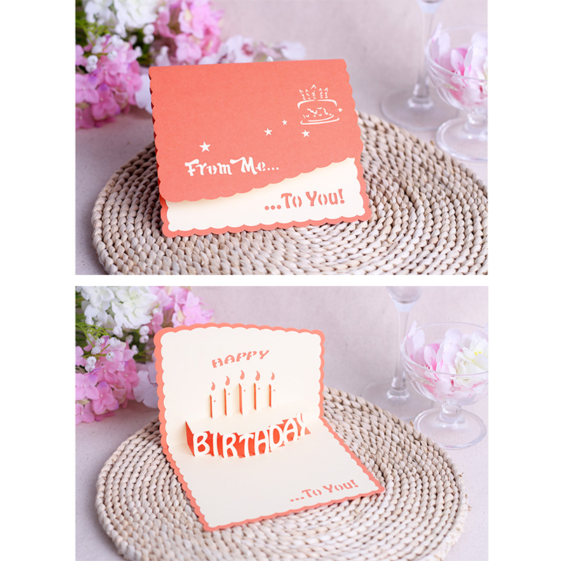 New 2015 Creative Birthday Cake Postcard Male And Female Close Friend Blessing Gift 3D POP Card Greeting